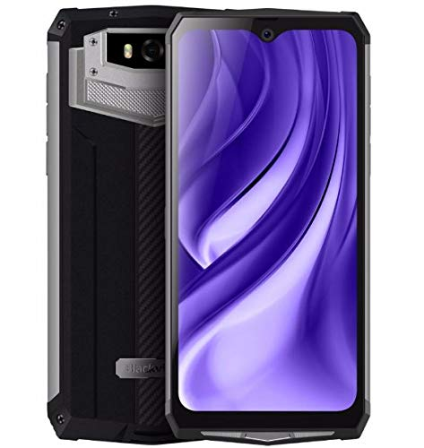 Blackview BV9100 (2019) Outdoor Handy ohne Vertrag, 13000-mAh-Akku (60 Tage Standby), 6,3-Zoll-FHD + IP68 Smartphone Android 9.0, Octa Core 4 GB+64 GB, 30 W Schnellladung, 16 MP + 16 MP NFC OTG-Silber