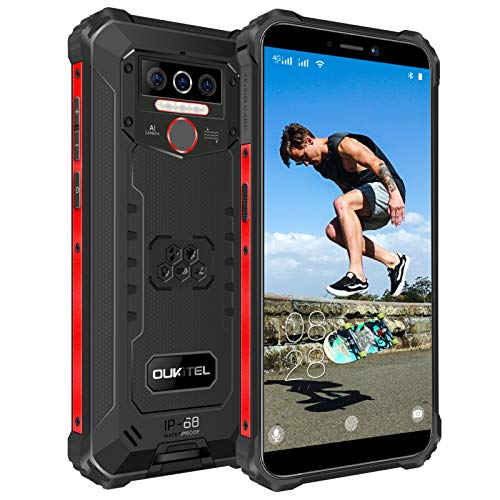 OUKITEL WP5 Pro (2020) Outdoor Smartphone Ohne Vertrag, 4G Dual SIM IP68 Outdoor Handy,8000mAh Akku 4GB 64GB,Android 10 Global Version 5,5 Zoll Triple Kamera Face/Fingerprint ID (Schwarz)