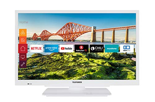 Telefunken XF22J501V-W 22 Zoll Fernseher (Smart TV inkl. Prime Video / Netflix / YouTube, Full HD, 12 Volt, Works with Alexa, Triple-Tuner) [Modelljahr 2020]