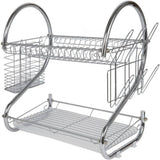 Modern Kitchen Chrome Plated 2-Tier Dish Drying Rack and Draining Board