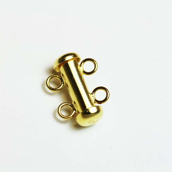 1pc gold vermeil on 925 Sterling Silver Jewellery findings 2-strand Slide lock Clasp,16*6mm  - FDGFCS0006