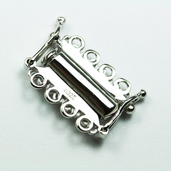 1pc Platinum Plated on 925 Sterling Silver Jewellery findings 4-strand Slide lock Clasp,20*12mm  - FDSSCS0100