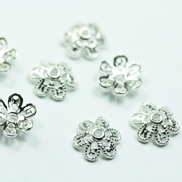 20pcs 6mm 925 Sterling silver Jewelry Findings Bead cap,6mm Flower cap, 2.2mm height ,0.8mm hole -FDSSCE0202