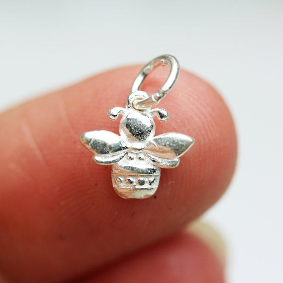 3pcs 925 Sterling Silver Jewellery findings Charm Beads , bee charm, 9*10mm, 2.3mm thick - FDSSB0410
