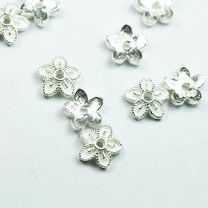 8pcs 925 Sterling silver Jewelry Findings Bead cap,7mm Flower cap,2.3mm Height, 1mm hole -FDSSC0205