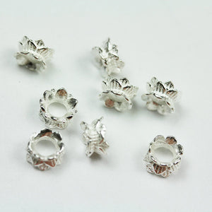 8pcs 925 sterling silver Jewelry Findings Double Bead cap, 6mm Flower cap,3.3mm height, 2.5mm hole -FDSSCE0211