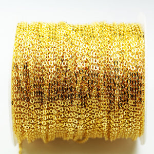 2m (6.6 Feet) Jewellery Making Chains, Oval, Gold Plated Brass Chain, Silver Chain, 3*2.3mm, 1mm thick,-WC0308