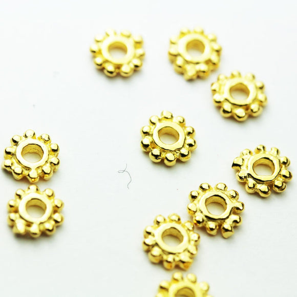 10pcs 5MM 24K Gold Vermeil on 925 sterling silver Jewellery Findings Rondelle Spacers,5mm diameter, 1.3mm thick, hole 1mm. - FDGVS001
