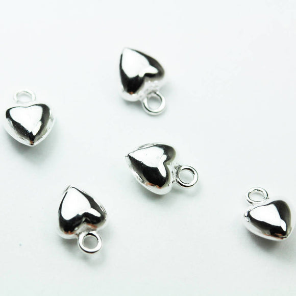 4pcs Heart 925 Sterling Silver Jewellery findings Charm Beads , 5mm Heart charm- FDSSB0494