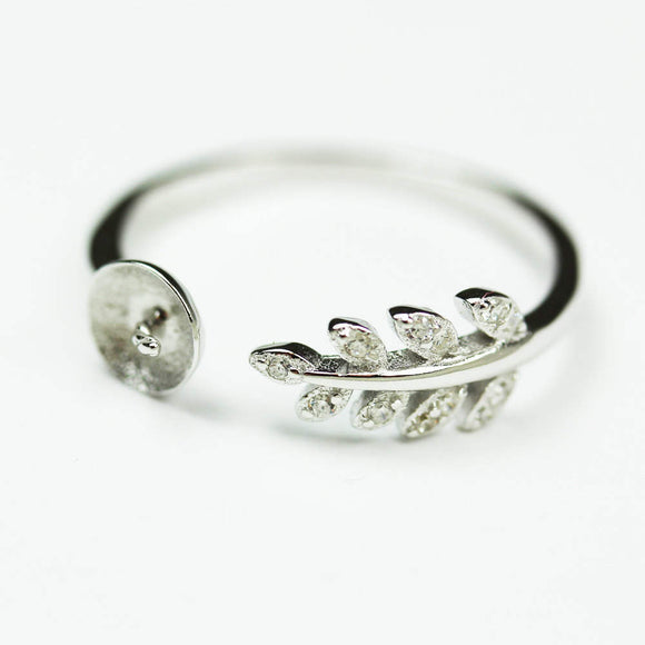 1pc adjustable 925 Sterling Silver w/Cubic Zirconia Jewellery findings Ring Setting,for half drilled Beads  - FDSSO0116