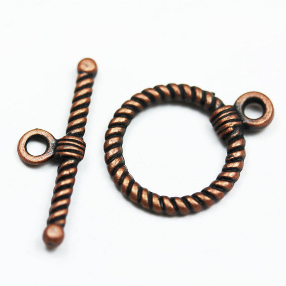 6sets Jewellery Findings Clasps Antique Red Copper Tone, Toggle 18mm wide 23mm long, Tbar 26mm long, Hole3mm -FDC0120