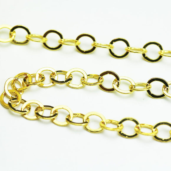 1m (3.3 Feet) Jewellery Making 5mm Circle Chains , Gold Plated brass Chain, 5mm, 1mm thick,-WC0341