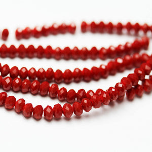 "One full strand 2.5*3.5mm Faceted Rondelle Dark Red Color Crystal Glass Jewelry Beads Strands,about 150 beads,Hole1mm, 14""-MCCR0202"