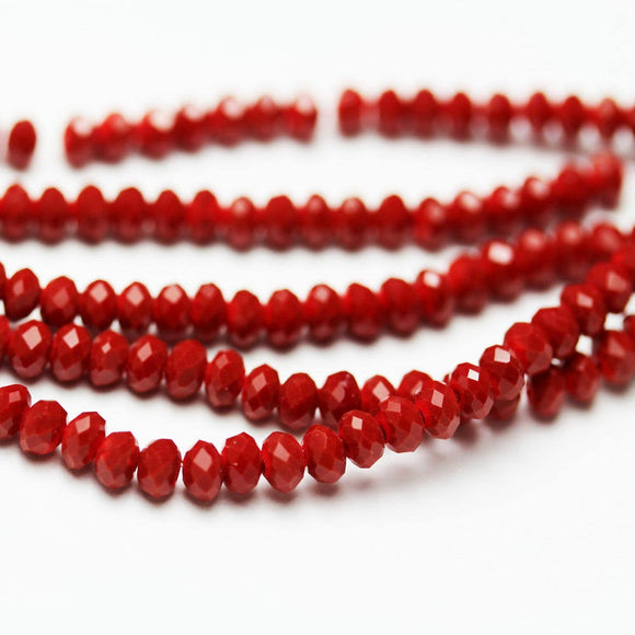 One full strand 2.5*3.5mm Faceted Rondelle Dark Red Color Crystal Glass Jewelry Beads Strands,about 150 beads,Hole1mm, 14
