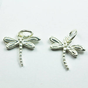 3pcs 925 Sterling Silver Jewellery findings Charm Beads ,Dragonfly charm, 13*12mm - FDSSB0411