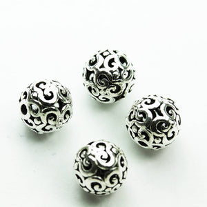 4pcs 8mm Antiqued 925 Sterling Silver Jewellery findings Filigree Ball Beads, 8mm, hole1mm - FDSSB0500
