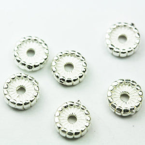 10pcs 6mm Jewellery Findings Daisy Spacers,925 sterling silver,6mm diameter, 1.7mm thick, hole 1mm. - FDSSS0407