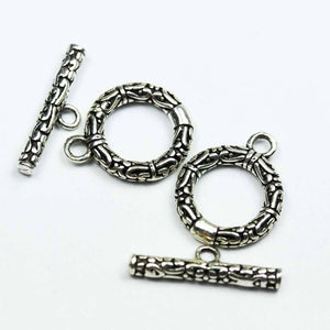 1 sets Antique 925 Sterling Silver Jewellery findings Toggle Clasp, 15mm Circle w/3mm closed jump ring, Tbar 16mm long, Hole2mm - FDSSCS0042