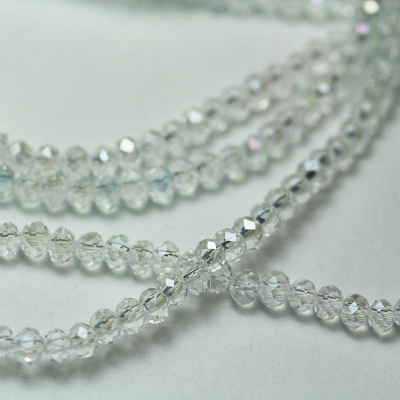 One full strand 3.5*4mm Jewelry Beads Strands,Crystal Glass,Faceted rondelle,Clear AB,150 beads,Hole1mm, 15