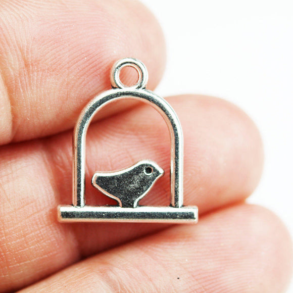 20pcs Jewellery findings Bird in Cage Charm Beads ,Silver plated  Charm, 15*15mm- FDB0337