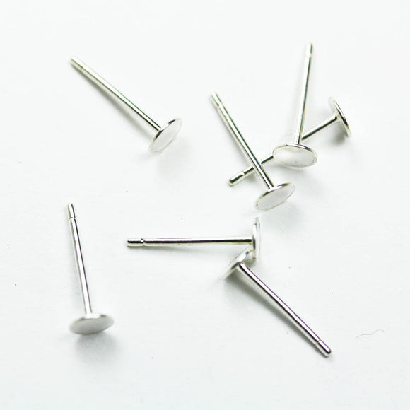 20pcs 925 Sterling silver Jewellery Findings Earring Post , 4mm Round Flat Setting Ear Studs for Glue On Beads-FDSSE0124