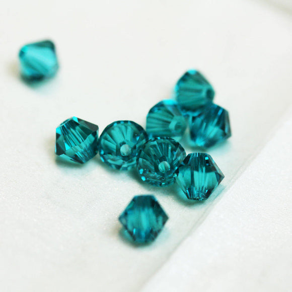 25pc Blue Zircon 4mm 5328 Swarovski crystal   Bicone shape Jewelry Beads,Hole1mm-SCB229