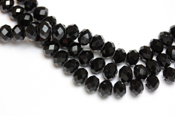 One full strand 6*4.5mm Black Crystal Class Jewelry Beads Strands,Faceted rondelle,Black,about 100 beads,Hole1mm, 18