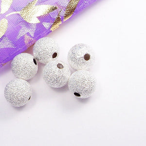 15pcs Stardust Ball Beads Jewellery findings , Silver Tone,8mm round, hole1mm - FDB0018
