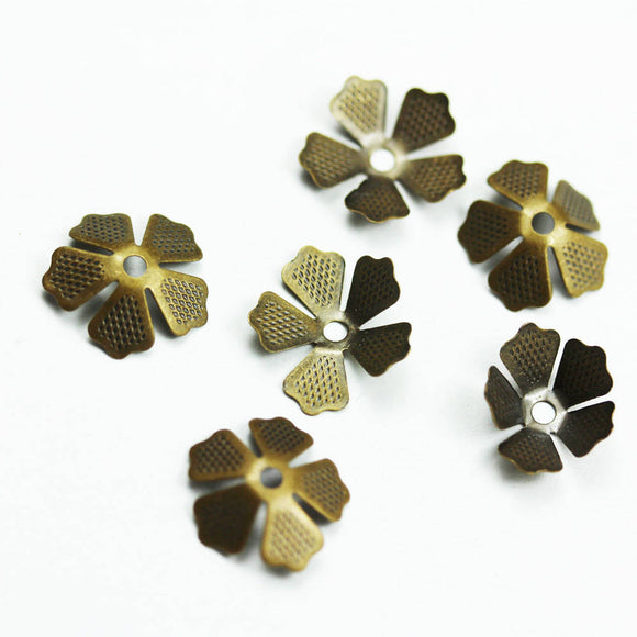 40pcs Bead Caps Jewelry Finding, Brass, Adjustable size 10mm-15mm,hole 1.5mm-FDBC0124