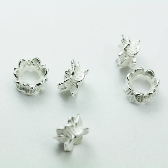 4pcs 925 sterling silver Jewelry Findings Double Bead cap, 8mm Flower cap,4mm height, 3.5mm hole -FDSSCE0230