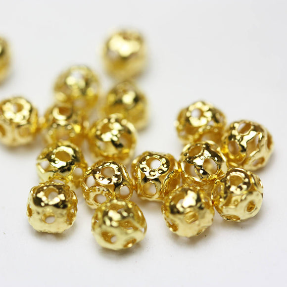 200pcs 4mm Filigree Ball Jewellery findings Beads, Gold plated metal,4mm hole1mm  - FDB0063
