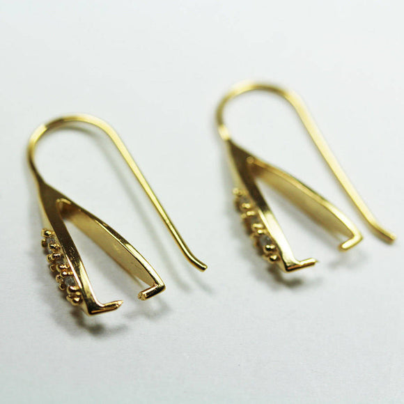 1Pair 24K gold vermeil on 925s.silver Cubic Zirconia Jewellery Findings Earwire , 6*25mm fishhook with1mm coil-FDGFE002