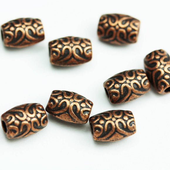 Copper tone Oval Beads, 40pcs 8*6mm Jewellery findings Beads, Antique red copper tone Alloy- FDB0396