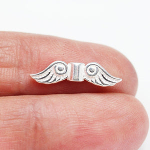 3pcs 18*5mm Angle Wing Jewellery Findings Beads,925 sterling silver, hole 1mm. - FDSSS0514