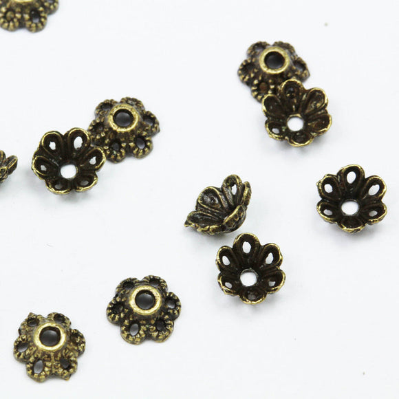 60pcs 6mm filigree cap ,Jewellery Findings Bead cap,Brass color finished,1mm hole -FDBC0093