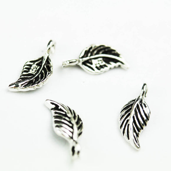 6pcs 925 Antique Sterling Silver Jewellery findings Charm Beads , 12*5.5mm Leaf- FDSSB0536