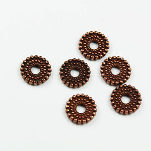 60pcs 7.5mm Jewellery Findings Daisy Spacers Antique Red Copper Tone, 7.5mm,2mm thick, 1.5mm hole -FDS0256