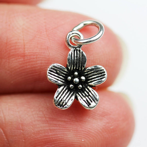 2pcs 925 Antique Sterling Silver Jewellery findings Charm Beads , 10mm Flower Charm -FDSSB0540
