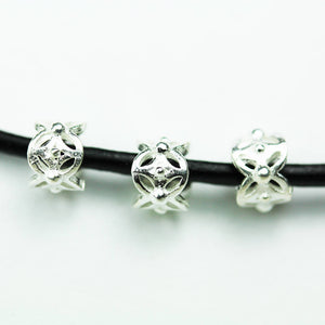 6pcs 6mm Big hole 925 Sterling Silver Jewellery findings Filigree Rondelle Beads, 4.5mm thickness, hole3mm - FDSSS0421