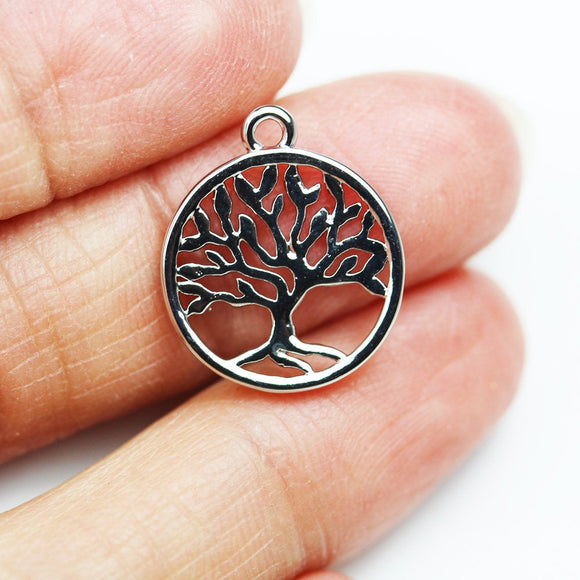 3pcs Stainless Steel Jewellery findings, Tree of Life Charm beads,Family Tree Charm, 15mm - FDB0424