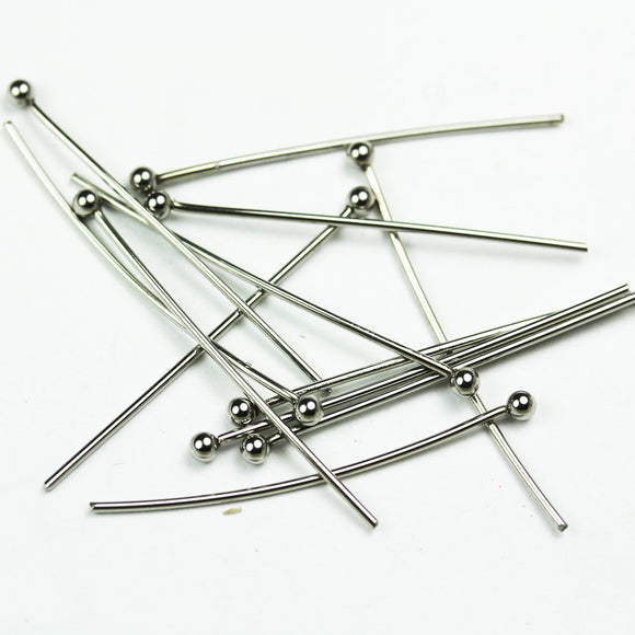 40pcs 1.2inches Stainless Steel Jewellery findings Head Pin w/ball End ,30mm,21gauge,  ball2mm  - FDP0024