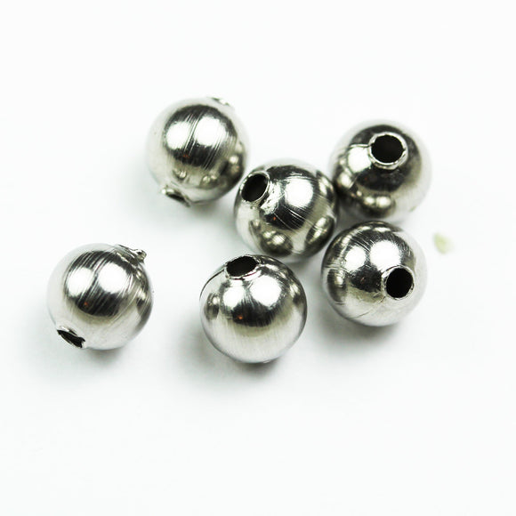 25pcs 6mm Stainless Steel Jewellery Findings Round Beads, hole 1mm - FDB0427