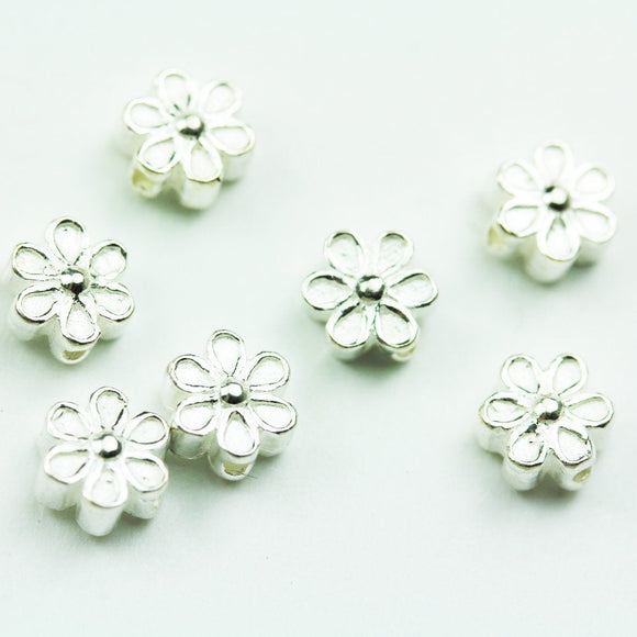 6pcs 925 Sterling Silver Jewellery findings Rose Flower Beads, 5.5mm, 3mm thick- FDSSB0547
