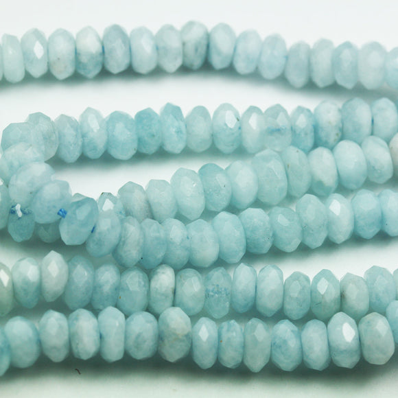 Aquamarine, 7*3.5mm Faceted Rondelle Gemstone Strand, One full strand , about 100 beads , 0.8mm hole-GEM1908
