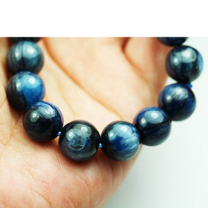 Kyanite, 14mm Blue Round Gemstone Strand, 8inch , about 16beads , 1mm hole-GEM1941