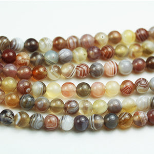 Botswana Agate, 6mm Round Natural Gemstone Strand,15.5 inch,about 70 beads , 1mm hole-GEM1971