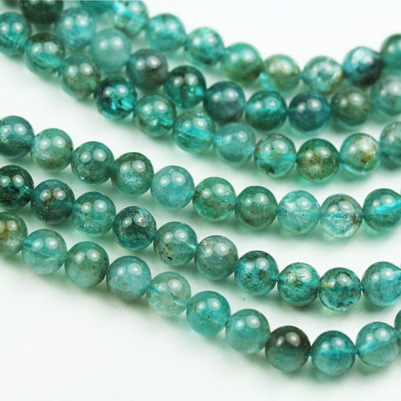 Apatite, 6mm Round Shape Natural Gemstone Beads, 15.5 inch , 0.8mm hole, about 70 beads -GEM1975