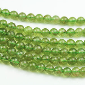 Green Spodumene Kunzite, Hiddenite, 5.5mm Round Gemstone Strand, 15.5inch , about 80 beads , 0.8mm hole-GEM1979