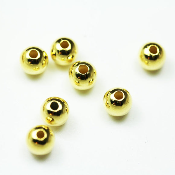 About 8pcs 24k gold vermeil on 925s.silver Jewellery findings Ball Beads ,6mm, 2mm hole- FDGFB0001