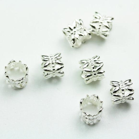6pcs 7mm diameter Big hole 925 Sterling Silver Jewellery findings Filigree Rondelle Beads, 6mm thickness, hole5mm - FDSSS0549